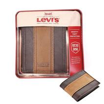 Levi's Men's RFID Blocking Two Tone Bifold ID Logo Brown Wallet 31LV240017
