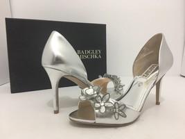 Badgley Mischka Larose Silver Metallic Leather Women's Evening High Heel... - $79.09