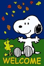 "Peanuts Snoopy with His Best Friend Woodstock ""WELCOME"" One Sided Garden Flag  - $34.60"