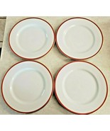 """Crate And Barrel Dinner Plates Set 4 10 1/4"""" White Red Gold Trim Christmas - $46.75"""