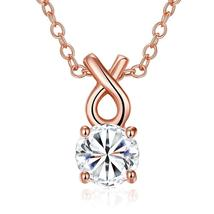 Necklace: Single Solitaire Swarovski Infinite Drop Necklace in 14K Rose ... - $23.04