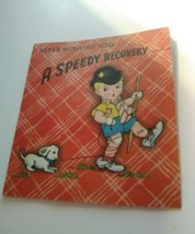 Speedy Recovery Get Well Card Vintage Boy Dog Top Hat Traditional House ... - $7.60