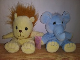 "EUC VTG Tender Tails 9"" Precious Moments Elephant/Lion Bean Plush Stuffe... - $20.00"