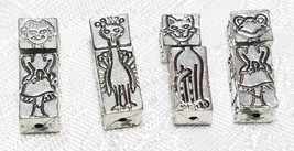 GIRL PEACOCK CAT FROG FINE PEWTER PENDANT BEAD SET