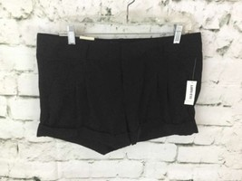 Old Navy Women's Sz 12 Dress Shorts Black Low-Rise Pleated Cuffed Mini NWT - $279,59 MXN