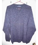 JOHN ASHFORD Sweater LARGE Men 100% Cotton Crew Neck Blue Ribbed Long Sl... - $17.81