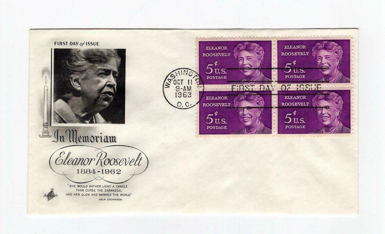 FDC ENVELOPE- IN MEMORIAM: ELEANOR ROOSEVELT  4BL-1963 ART CRAFT CACHET BK13