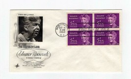 FDC ENVELOPE- IN MEMORIAM: ELEANOR ROOSEVELT  4BL-1963 ART CRAFT CACHET ... - $0.98