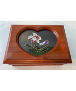 Jewelry Box Wooden, Painted Flowers Glass Heart Green Interior Rings Nec... - $14.80