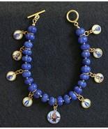 Sapphire & Vermeil Bracelet w 9 Vintage Enameled Miniature Religious Medals - $331.65