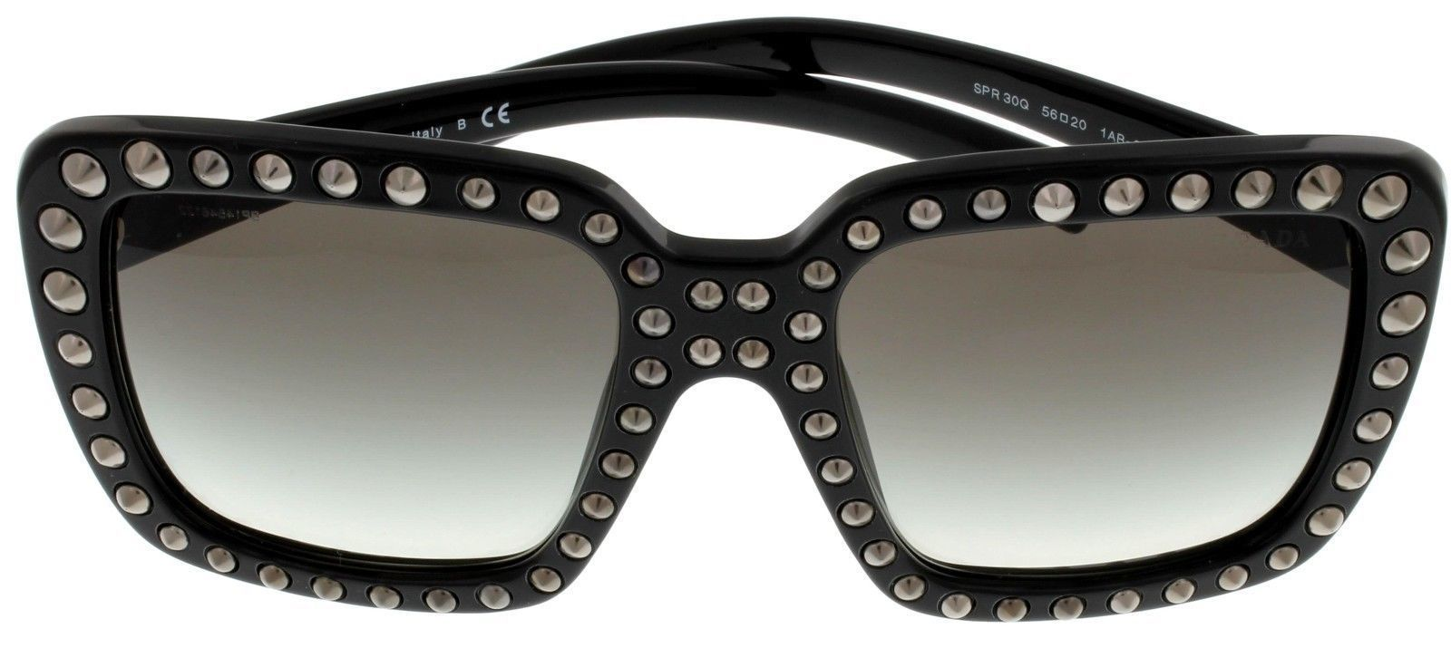Prada Sunglasses Women Black Black With Stud Detailing Square PR30QS 1AB0A7