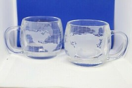 "SET OF 2 NESTLE CO INC COLONIAL CUPBOARD GLASS MUGS ""WORLD MAP"" - $22.72"