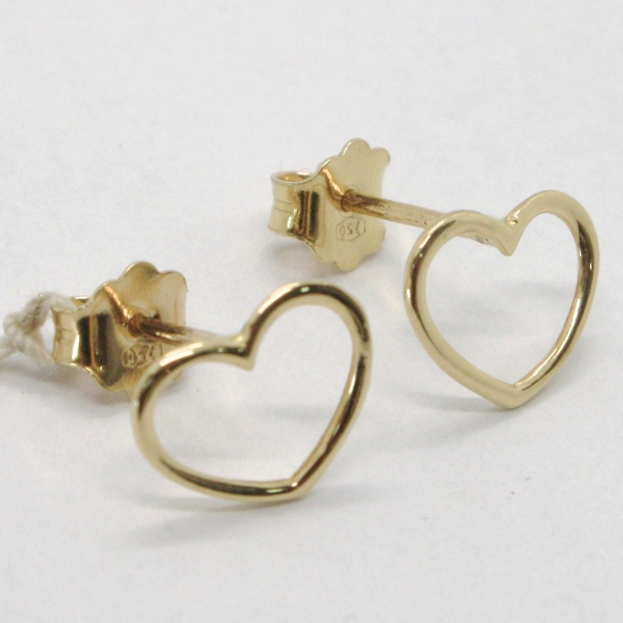 18K YELLOW GOLD EARRINGS, WITH HEART, LENGTH 8 MM, MADE IN ITALY