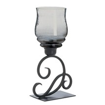 glass candle holder stand, modern Smoked Glass Cursive outdoor standing ... - $36.19