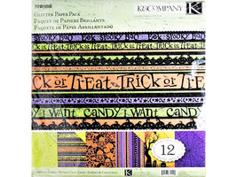 """K&Comany Halloween Glitter Cardstock Pack, 12 Sheets of 12x12"""" Cardstock"""
