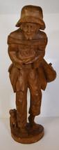 """20"""" Vintage Hand Carved Folk Art Statue Old Man Poor Peasant w/ Dog - $123.49"""