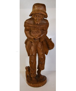 "20"" Vintage Hand Carved Folk Art Statue Old Man Poor Peasant w/ Dog - $123.49"