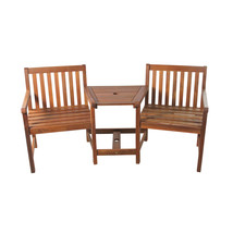 "70"" Acacia Wood Jack and Jill Chair with Table Outdoor Patio Set - $221.50"