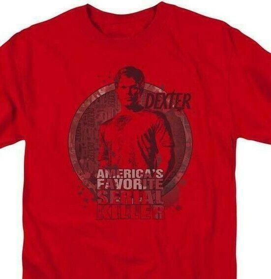 Dexter T-shirt Blood Splatter TV horror show cotton graphic tee SHO334 Red