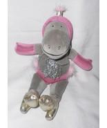 Jellycat Las Vegas Diva Hippo Plush Stuffed Animal Showgirl Grey Pink Si... - $24.73