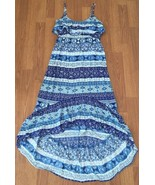 Fang Dress Size Medium Blue Purple Ruffled High Low Elastic Waistband - $15.84