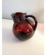Vintage Anchor Hocking Royal Ruby Red Ball Pitcher - $28.04