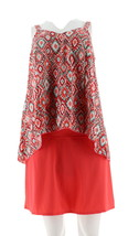 Denim& Co Beach Hi-Low Tankini Swimsuit Skirt Coral Ikat 14 NEW A303155 - $34.63