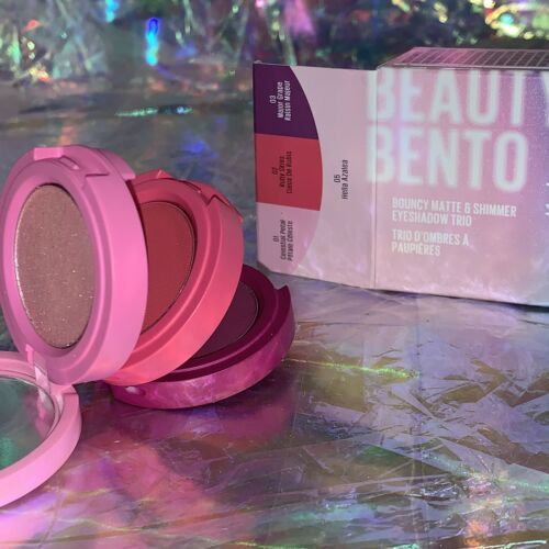 NEW IN BOX Kaja Beauty Bento Bouncy Shimmer Eyeshadow Trio Hella Azalea
