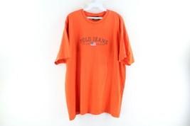 Vintage 90s Ralph Lauren Mens XL Spell Out Center Logo Faded T-Shirt Orange - $39.55