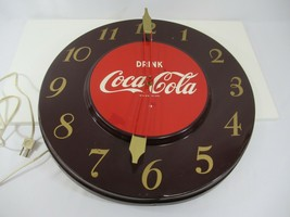 "Coca Cola Wall Clock 1951 Maroon Gold Red 17"" Round Vintage Hands Need Work - £111.37 GBP"
