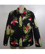 220 Hickory Hawaiian Floral Foliage Quilted Full Zip Jacket Size Large, ... - $24.95