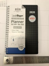 Plan Ahead See it bigger Calendar Spiral Planner 2020 Black  8.75 X 5.5 ... - $24.74