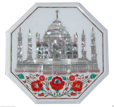 "18"" White Marble Coffee Table Top Mother of Pearl Gem Tajmahal Inlay Wor... - £533.39 GBP"