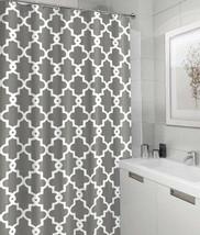 180X180CM Designer Mildew-Free Water-Repellent Fabric Hookless Grey Shower Curta - $28.51