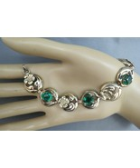 Art Deco Bracelet PR ST CO 12K on Sterling Silver Green Oval Rhinestones... - $34.64