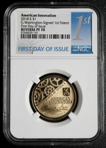 2018 S AMERICAN INNOVATION $1 REVERSE G.WASHINGTON SIGNED NGC PF70 Coin SKU# C74
