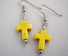 Stone Cross Drop Earrings Yellow Handmade - $13.25
