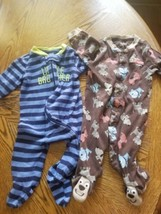 2 Carter's 3 month Baby Boy Footed Sleeper - Brown Puppy Dog & little br... - $4.21