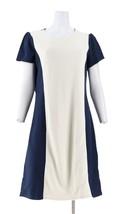 Liz Claiborne NY Textured Ponte Knit Dress Cream Navy 10 NEW A262187 - $36.61