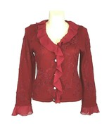Large Cardigan Sweater Red Chiffon Ruffle WEST END Ribbon Embellish Long... - $28.95