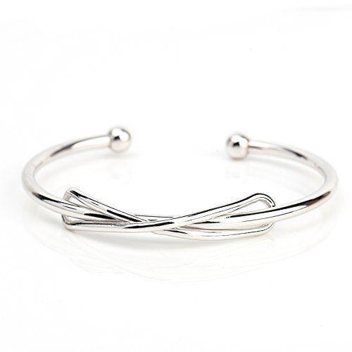 UE-Trendy Silver Tone Designer Bangle Bracelet With Contemporary Infinity Design