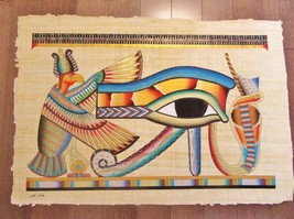 XXL Signed Handmade Papyrus Egyptian Eye Of Horus (Protection) Painting.... - $74.25