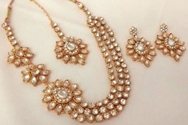 Indian Ethnic Gold Plated Kundan Bridal Wedding 3 Layer Necklace Jewelry Set - $14.49