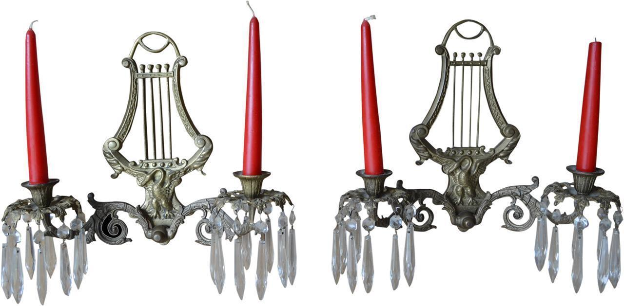 17080 Pair of Brass Wall Candelabra Sconces