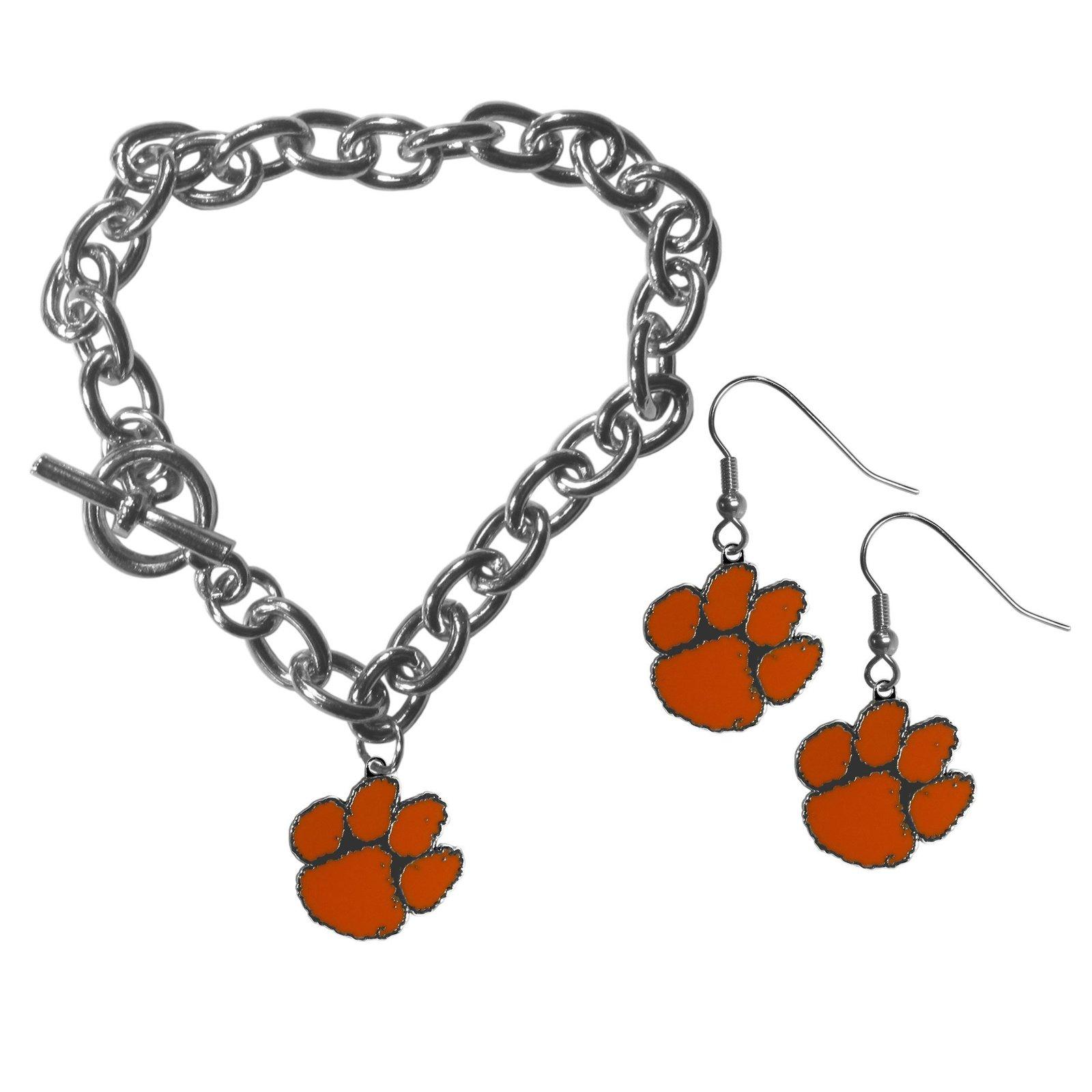Ncaa clemson tigers chain bracelet and dangle earring set default title jademoghul 3656867905640