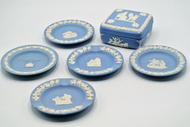 Wedgwood Blue Jasperware Trinket Box Ashtray Lot Expo 85 VTG England - $33.68
