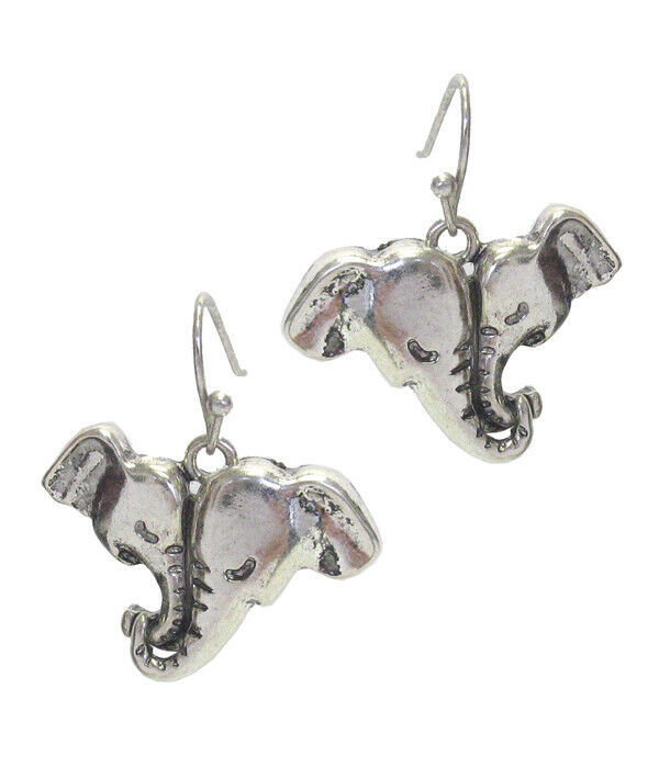Primary image for Double Elephant Dangle Earrings Silver NEW