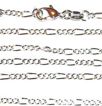 "CN413 Silver Figaro Link Sterling Plate 24"" Chain Lobster Clasp Necklace - $7.75"