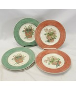 "Wedgwood Queens Ware Sarah's Garden 8.25"" Salad Plates 1997 Lot of 6 - $39.19"