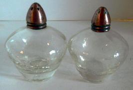Vintage Elegant Crackle Glass Small Salt & Pepper Shakers Set - $8.00